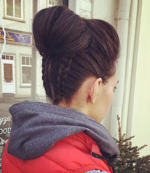 Upside Down Braids with High Chignon