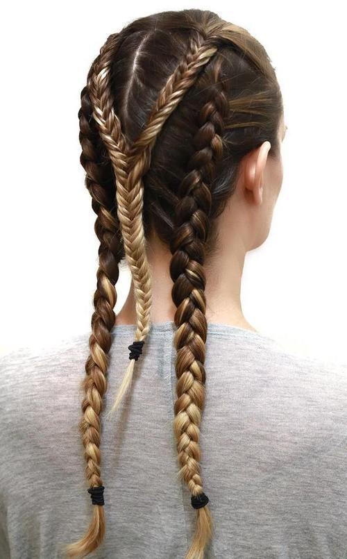 triplu braid sporty hairstyle