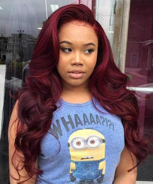 dlho Curly Burgundy Sew In Hairstyle