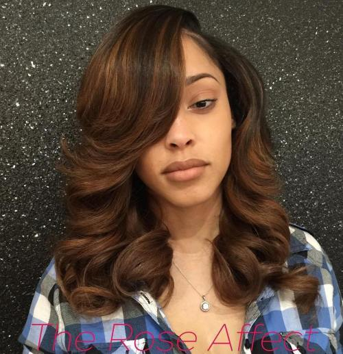 hnedý Weave Hairstyle With Bangs And Highlights