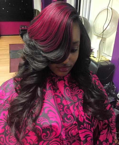 dlho Layered Black Sew In With Pink Balayage