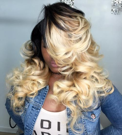dlho blonde curly sew-in