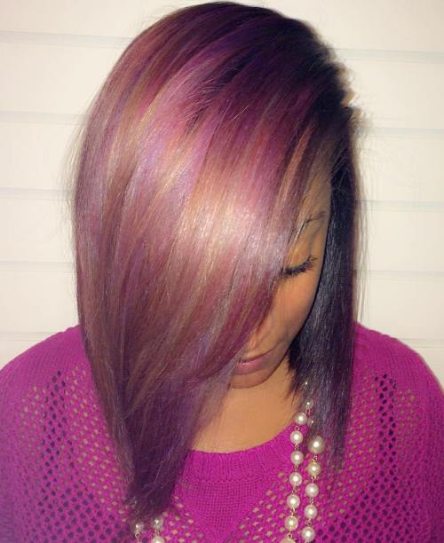Šiť-In Bob With Caramel And Purple Highlights