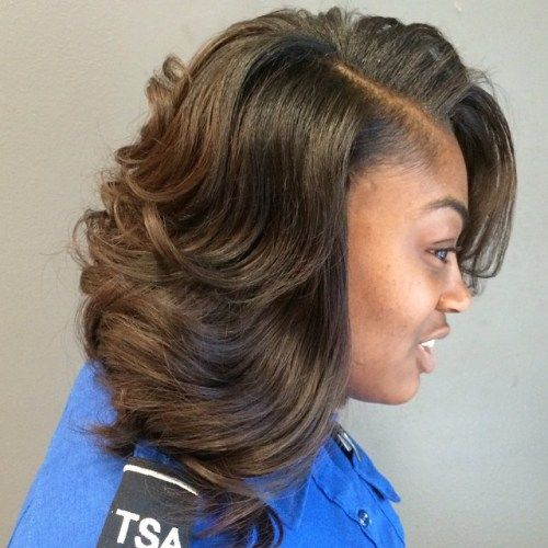 hnedý layered sew in hairstyle