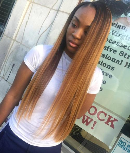 dlho Straight Caramel Sew In Hair